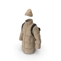 Mens Down Coat Hat Backpack  Beige Black PNG & PSD Images