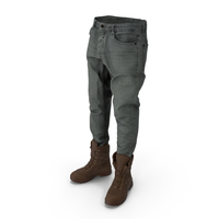 Mens Jeans Boots Grey Brown PNG & PSD Images