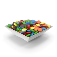 Square Bowl with Colored Chocolate Buttons PNG & PSD Images