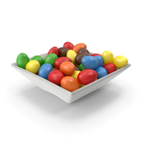 Square Bowl with Peanuts with Colored Chocolate Coating PNG & PSD Images