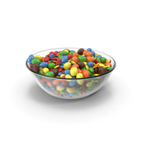 Bowl with Mixed Color Coated Chocolate Candy PNG & PSD Images