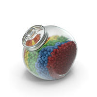 Spherical Jar with Mixed Color Coated Chocolate Candy PNG & PSD Images