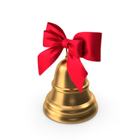Christmas Bell with Red Bow PNG & PSD Images