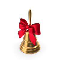 Christmas Bell with Red Bow and Handle PNG & PSD Images