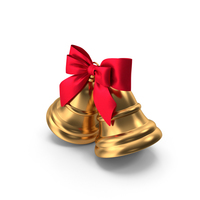 Two Christmas Bells with Red Ribbon PNG & PSD Images