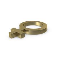 Female Gender Symbol Side Gold PNG & PSD Images