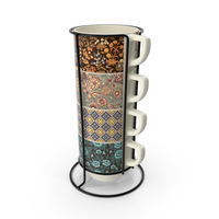 Set of Stacking Coffee Mugs with Metal Rack PNG & PSD Images