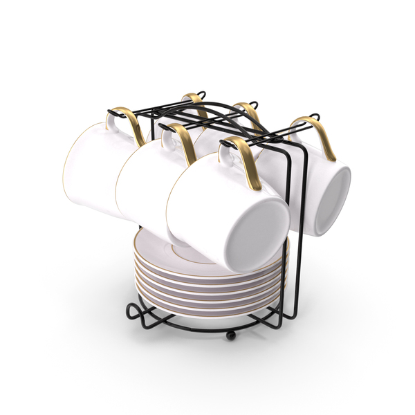 Stainless Steel Coffee Cup Holder Set PNG & PSD Images