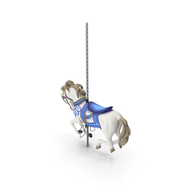 Carousel Galloping Horse Blue PNG & PSD Images