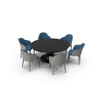 Fendi Table Chair Set Black Blue PNG & PSD Images