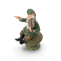 Garden Gnome with Fiddle on Mushroom PNG & PSD Images