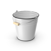 Antique Enamel Bucket with Wood Handle PNG & PSD Images