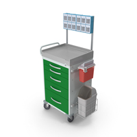 General Purpose Medical Cart with Organizer PNG & PSD Images