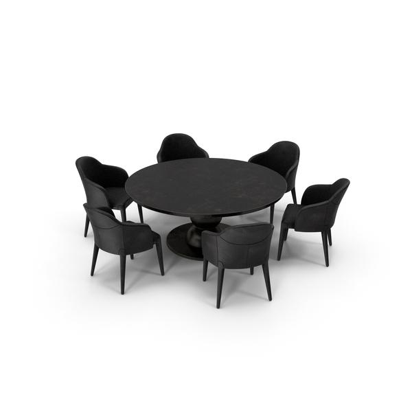 Fendi Table Chair Set Black Damaged PNG & PSD Images