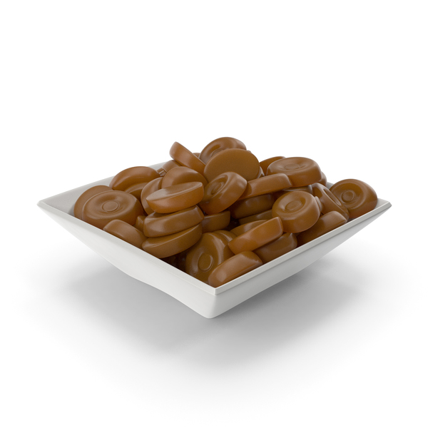 Square Bowl with Caramel Oval Hard candy PNG & PSD Images