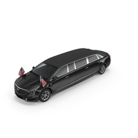 Presidential Limousine Cadillac SS 70 Stretch with American Flag PNG & PSD Images
