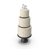 Cascade Cake with Decor of Black Ribbon and Topper Happy Birthday PNG & PSD Images