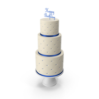Cascade Cake with Decor of Blue Ribbon and Topper Happy Birthday PNG & PSD Images