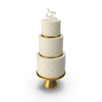 Cascade Cake with Decor of Gold Ribbon and Topper Happy Birthday PNG & PSD Images