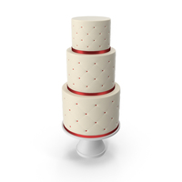 Cascade Cake with Decor of Red Ribbon PNG & PSD Images