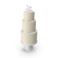 Cascade Cake with Decor of White Ribbon and Topper Happy Birthday PNG & PSD Images