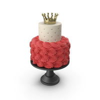 Cascade Cake with Flower and Crown PNG & PSD Images
