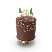 Christmas Cake with Gold Merry Christmas Topper PNG & PSD Images