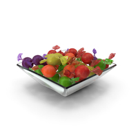 Square Bowl with Wrapped Spherical Candy PNG & PSD Images