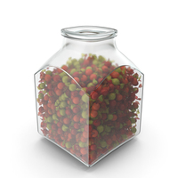 Square Jar with Wrapped Spherical Candy PNG & PSD Images