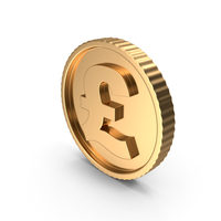 Golden Coin Pound Gold Dark PNG & PSD Images