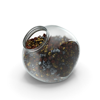 Spherical Jar with Wrapped Fancy Bonbons PNG & PSD Images