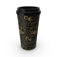 Paper Cup Black Patterned PNG & PSD Images