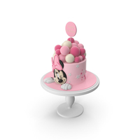 Minnie Mouse Birthday Pink Cake PNG & PSD Images