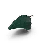 Robin Hood Cap with Feather Green PNG & PSD Images