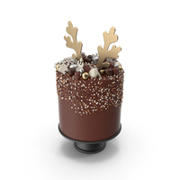 Christmas Cake with Reindeer Antlers Topper PNG & PSD Images