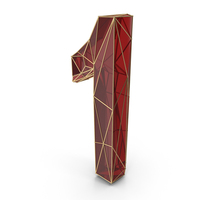 Red Glass Alphabet with Golden Edges Number 1 PNG & PSD Images