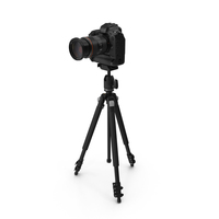 DSLR Camera with Zoom on Tripod PNG & PSD Images