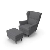 Strandmon Grey Wing Chair with Puff PNG & PSD Images