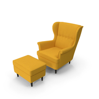 Strandmon Yellow Wing Chair with Puff PNG & PSD Images