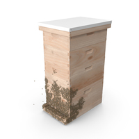 Wooden Beehive Brood Box with Bees PNG & PSD Images