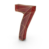 Red Glass Alphabet with Golden Edges Number 7 PNG & PSD Images