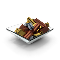 Square Bowl with Wrapped Chocolate Candy PNG & PSD Images