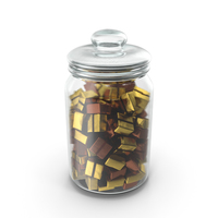 Jar with Wrapped Square Chocolate Candy PNG & PSD Images