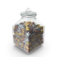 Square Jar with Square Wrapped Chocolate Candy PNG & PSD Images