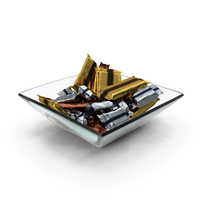 Square Bowl with Wrapped Candy Bars PNG & PSD Images