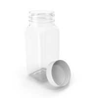 Plastic Square Bottle 4oz 120ml Open PNG & PSD Images