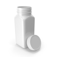 Plastic Square Bottle 4oz White 120ml Open 03 PNG & PSD Images