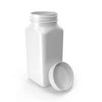 Plastic Square Bottle 8oz White 240ml Open PNG & PSD Images