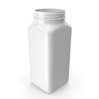 Plastic Square Bottle 16oz White 480ml No Cap PNG & PSD Images