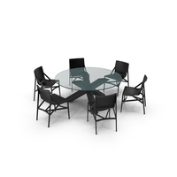 Cassina Dining Table Chair Set Black Glass PNG & PSD Images